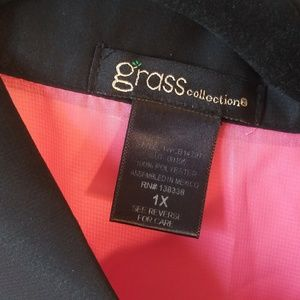 grass collection Tops - Grass Collection Sheer Blouse - Pink & Black